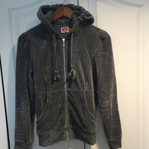 Juicy Couture grey velvet hoodie with full zipper
